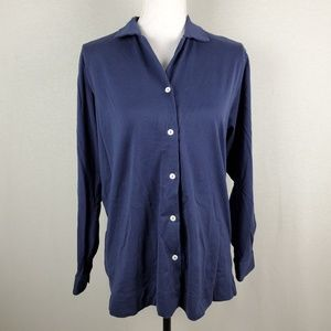 Loro Piana Cotton Button Front Long Sleeve Top MD